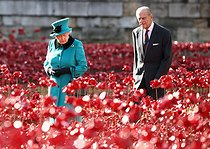 La reine Elisabeth II (née en 1926) et son époux, le prince Philip (né en 1921), se promenant parmi des coquelicots en céramique dans les douves de la Tour de Londres (Royaume-Uni), 16 octobre 2014. Photo : Chris Jackson. © Chris Jackson / PA Archive / Roger-Viollet