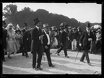 """Alexandre Millerand (1859-1943), President of the French Republic, and King Alphonse XIII of Spain (1886-1941) at the Palace of Versailles (Seine-et-Oise). Monday 27 June 1921. Photograph from the French newspaper """"Excelsior"""". © Excelsior – L'Equipe / Roger-Viollet"""