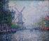 """Paul Signac (1863-1935). """"Rotterdam. Le moulin. Le canal. Le matin"""". Huile sur toile, 1906. Otterlo (Pays-Bas), musée Kröller-Müller. © TopFoto / Roger-Viollet"""