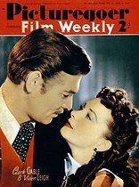 "Une du magazine ""Picturegoer"" représentant Clark Gable (1901-1960), acteur américain, et Vivien Leigh (1913-1967), actrice britannique, pour la promotion d'""Autant en emporte le vent"" (Gone with the wind), film de Victor Fleming d'après le roman de Margaret Mitchell. 27 avril 1940. © TopFoto / Roger-Viollet"