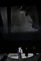 """Orpheus and Eurydice"" (Orfeo ed Euridice), opera by Christoph Willibald Gluck. Conductor : Raphaël Pichon. Direction and stage design : Aurélien Bory. Orchestra and chorus : Ensemble Pygmalion. Marianne Crebassa, Léa Desandre and Hélène Guilmette. Costumes : Manuela Agnesini. Lights : Arno Veyrat. Danseurs Circassiens. Paris, Opéra Comique, on October 9, 2018. © Colette Masson / Roger-Viollet"