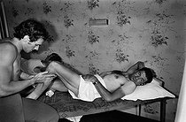 "Tour de France 1976. Raymond Poulidor (1936-2019), French racing cyclist, having a massage on his rest day, on July 2nd, 1976. Photograph by Bernard Charlet, from the collections of the French newspaper ""France-Soir"". Bibliothèque historique de la Ville de Paris. © Bernard Charlet / BHVP / Roger-Viollet"