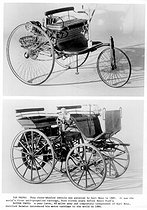 Vintage Daimler Benz. Archive. Mono Print. Vintage Daimler Benz 1886Top Photo: This three-wheeled vehicle was patented by Karl Benz in 1885. It was the world's first self-propelled carriage, born eleven years before Henry Ford's.Bottom Photo: A year later, 60 miles away and completely independent of Karl Benz, Gottlieb Daimler introduced his motor carriage to the world in 1886. 20010609. © TopFoto / Roger-Viollet
