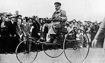 RHR. Archive. Mono Print. Karl Benz in his 1883 Motor tricycle. © TopFoto / Roger-Viollet