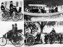 Karl Benz. Archive. Mono Print. Karl Benz, 1834-1900With his motor car,Karl Benz realised an ancient dream of mankind - self mobility. He is seen with his colleague Josef Brecht on the 'patent motor car' and with his family and friend Von Liebig (in right hand car) on a car tour 1894.©2006 TopFoto. © TopFoto / Roger-Viollet