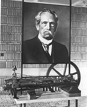 Karl Benz,. Personalities. Mono Print. Karl Friedrich Benz, sometimes spelled Carl was a German engine designer and automobile engineer, generally regarded as the inventor of the gasoline-powered automobile. © TopFoto / Roger-Viollet