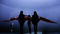"""""""At the Hawk's Well"""", ballet choreographed by Alessio Silvestrin. Direction : Hiroshi Sugimoto. Conductor : Ryoji Ikeda. Lights : Hiroshi Sugimoto. Costumes : Rick Owens. Opéra national de Paris ballet company. Actor : Kisho Umewaka. Dancer : Ludmila Pagliero. Paris, Opéra Garnier, on September 17, 2019. © Colette Masson / Roger-Viollet"""