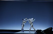 """""""At the Hawk's Well"""", ballet choreographed by Alessio Silvestrin. Direction : Hiroshi Sugimoto. Conductor : Ryoji Ikeda. Lights : Hiroshi Sugimoto. Costumes : Rick Owens. Opéra national de Paris ballet company. Dancers : Hugo Marchand and Alessio Carbone. Paris, Opéra Garnier, on September 17, 2019. © Colette Masson / Roger-Viollet"""