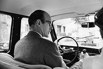 Valéry Giscard d'Estaing (born in 1926), French politician, driving his Renault 4L during the campaign for the legislative elections in Auvergne (France), on June 1st, 1969. Photograph by André Perlstein (born in 1942). © André Perlstein / Roger-Viollet