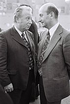 Georges Séguy (1927-2016), secretary-general of the General Confederation of Labour (CGT), French trade union, and Henri Krazuki (1924-2003), French unionist, at the 22nd Congress of the French Communist Party. Saint-Denis (France), February 1976. Photograph by André Perlstein (born in 1942). © André Perlstein / Roger-Viollet