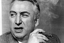"""Roland Barthes (1915-1980), French philosopher, literary critic and semiologist, during an interview for the magazine """"L'Express"""". Paris, 17 February 1970. Photograph by André Perlstein (born in 1942). © André Perlstein / Roger-Viollet"""