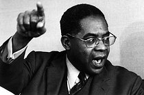 """Aimé Césaire (1923-2008), Martinician writer, poet, playwright, essayist and politician, at an interview by the magazine """"L'Express"""". Paris, 1971. Phototgraph by André Perlstein (born in 1942). © André Perlstein / Roger-Viollet"""