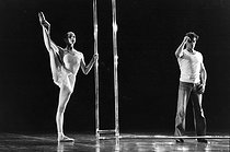 """Elisabeth Platel (born in 1959), lead dancer at the Paris Opera, on stage with Jean Babilée (1923-2014), French dancer, for the ballet """"Life"""" choreographed by Maurice Béjart (1927-2007) at the Opéra Garnier. Paris (IXth arrondissement). Photograph by André Perlstein (born in 1942). © André Perlstein / Roger-Viollet"""