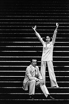 Roland Petit (1924-2011), French dancer and choreographer, with his wife Zizi Jeanmaire (1924-2020), French dancer, music hall artist and actress, when the Casino de Paris was bought back. Paris (IXth arrondissement), 18 July 1969. Photograph by André Perlstein (born in 1942). © André Perlstein / Roger-Viollet