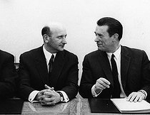 François Ceyrac (1912-2010), French CEO and trade unionist, chairman of the CNPF (National Council of French Employers) from 1972 to 1981, and André Krazuki (1924-2003 ), French trade unionist. France, 1969. Photograph by André Perlstein (born in 1942). © André Perlstein / Roger-Viollet