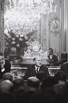 Marcel Dassault (1892-1986), French engineer, deputy and senator of the RPR, a French politicial party, founder and CEO of the Dassault group, at a press conference, at the Champs-Elysées. Paris, 17 October 1968. Photograph by André Perlstein (born in 1942). © André Perlstein / Roger-Viollet
