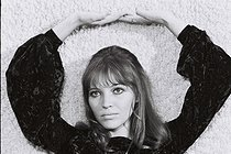"""Anna Karina (1940-2019), Danish-born French actress, singer and writer, at the television show """"Dim Dam Dom"""". France, 4 November 1969. Photograph by André Perlstein (born in 1942). © André Perlstein / Roger-Viollet"""