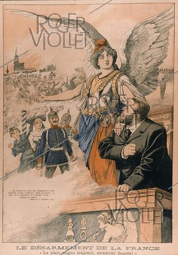 Roger-Viollet | 664198 | Allegorical engraving against Jaurès and Pressensé about the French military policy.  Le Petit Journal , December 1903. | © Roger-Viollet / Roger-Viollet