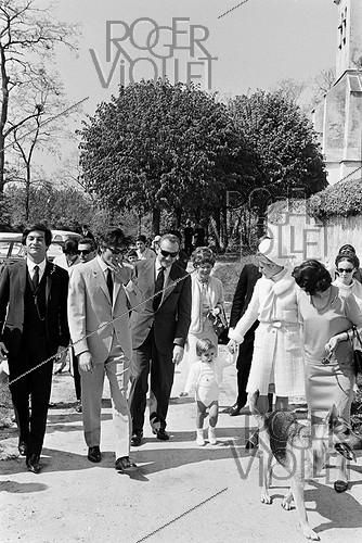 Roger-Viollet | 651821 | Christening of Anthony Delon, Alain Delon and Nathalie's son, on May 1st, 1966. Photograph by Georges Kelaïditès (1932-2015). | © Georges Kelaïditès / Roger-Viollet