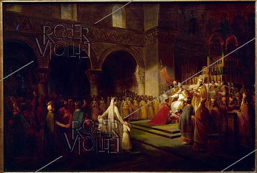 Roger-Viollet | 180068 |  Coronation of Pepin the Short (715-768), King of France, in 754 . Painting by Dubois. Versailles museum. | © Roger-Viollet / Roger-Viollet