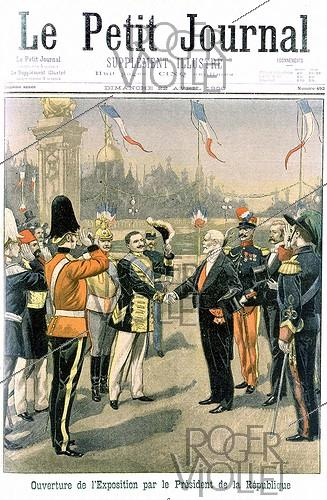Roger-Viollet | 496492 | Emile Loubet (1838-1929), President of the French Republic, during the opening ceremony of the 1900 World Fair in Paris. Illustration from the newspaper  Le Petit Journal , on April 22, 1900. | © Roger-Viollet / Roger-Viollet