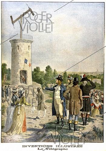 Roger-Viollet | 182789 | Experiment of Chappe's telegraph in the public garden of Saint-Fargeau in Ménilmontant, July 1793. Newspaper  Le Petit Journal , December 1901. | © Roger-Viollet / Roger-Viollet