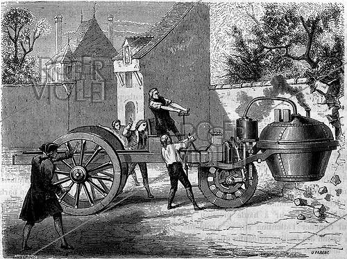 Roger-Viollet | 680339 | First steam motorcar tested by the French engineer Joseph Cugnot (1725-1804) inside the Arsenal of Paris, in 1770. | © Roger-Viollet / Roger-Viollet