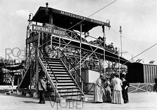 Roger-Viollet | 792995 | Foire du Trône. Overall view of the roller-coaster. Paris, 1908. | © Jacques Boyer / Roger-Viollet