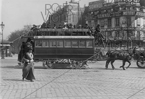 Roger-Viollet | 865205 | Horse-drawn streetcar Charenton - Place de la Republique. Paris,1912. | © Jacques Boyer / Roger-Viollet