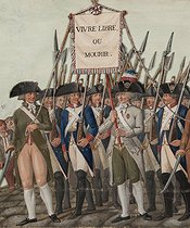 Roger-Viollet | 124585 | Jean-Baptiste Lesueur (1749-1826). French wish : live free or die, banner carried for civic processions - Meeting between a swordsman and a seal breaker. Gouache on cardboard. Paris, musée Carnavalet. | © Musée Carnavalet / Roger-Viollet