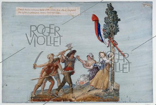 Roger-Viollet | 16432 | Jean-Baptiste Lesueur (1749-1826). Bandits about to cut down the Liberty Pole in Vendee (France). Gouache on cardboard. Paris, musée Carnavalet. | © Musée Carnavalet / Roger-Viollet