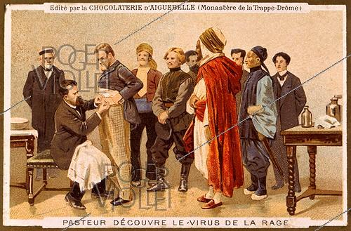 Roger-Viollet | 418023 | Louis Pasteur (1822-1895), French biologist, during a session of vaccination against rabies in the laboratory of the rue d'Ulm. Paris, 1886. Advertising illustration for Aiguebelle chocolate. | © Roger-Viollet / Roger-Viollet