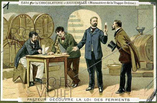 Roger-Viollet | 535614 | Louis Pasteur (1822-1895), French biologist, discovers the law of ferments. Advertising illustration for the chocolate of Aiguebelle. | © Roger-Viollet / Roger-Viollet