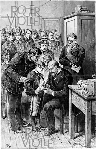 Roger-Viollet | 716580 | Rabies vaccination session, at the laboratory in the rue d'Ulm, by Dr Grancher (1843-1907) and Louis Pasteur (1822-1895), French chemist and biologist. Engraving by Fortuné Louis Méaulle after a drawing by H. Meyer. Paris, 1886. | © Roger-Viollet / Roger-Viollet