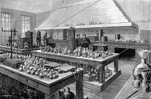 Roger-Viollet | 332948 | The great laboratory of Louis Pasteur ( 1822-1895 ), French chemist and biologist, at the Ecole normale supérieure. Drawing by H. Meyer,1884. | © Roger-Viollet / Roger-Viollet