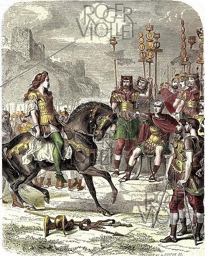 Roger-Viollet | 402806 | Vercingétorix, Gallic chief, going to Julius Caesar, in 52 before JC. Colourized engraving. | © Roger-Viollet / Roger-Viollet