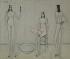 """Bernard Buffet (1928-1999). """"Trois nus"""". Huile sur toile, 1949. Paris, musée d'Art moderne. © Musée d'Art Moderne/Roger-Viollet"""