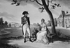 """George Cruikshank (1792-1878) d'après Isabey. """"Napoléon Bonaparte, premier consul et son épouse Joséphine de beauharnais (1763-1814) au château de la Malmaison (Hauts-de-Seine). Gravure. © Roger-Viollet"""