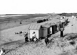 La plage et les cabines aux environs de Sangatte (Pas-de-Calais). © CAP/Roger-Viollet