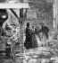 Mendiant demandant l'aumôme en hiver. Reconstitution sous le Second Empire. Vue stéréoscopique. © Léon et Lévy / Roger-Viollet