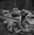 Guerre 1939-1945. Occupation. Destruction de statues pour récupérer les métaux. La statue du marquis de Condorcet, homme politique français, par Jacques Perrin (1847-1915). Paris, 1941.    © Pierre Jahan/Roger-Viollet