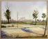 """Paul Signac (1863-1935). """"La route de Gennevilliers"""", 1883. Paris, musée d'Orsay. © Roger-Viollet"""