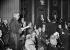 Alphonse Juin (1888-1967), maréchal français, reçu à l'Académie Française. Au bureau : maître Maurice Garçon et Maurice Genevoix. Paris, 25 juin 1953. © Roger-Viollet