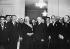 Guerre 1939-1945. Le maréchal Pétain remettant les insignes de Grand-Croix de la Légion d'Honneur à Louis Lumière (1864-1948), chimiste et industriel français, pionnier du cinéma. Vichy (Allier). Décembre 1941. © LAPI / Roger-Viollet