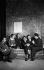 Le groupe des Six : de gauche à droite, Francis Poulenc, Germaine Tailleferre, Louis Durey, Georges Auric (absent, dessiné par Cocteau), Jean Cocteau, écrivain français (qui s'est joint au groupe de compositeurs), Darius Milhaud et Arthur Honegger. 1931. © Boris Lipnitzki / Roger-Viollet