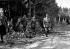Guerre d'Espagne (1936-1939). Le Général Franco sur le front de Brunete, pendant la guerre civile, visitant, avec les officiers de son Etat-major, les tranchées évacuées par les Miliciens. Juillet 1937.  © Roger-Viollet