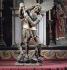 """""""Saint Michel terrassant le dragon"""". Bois, polychrome. Eglise de Fridefont (Cantal). © Roger-Viollet"""