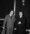 """Albert Camus (1913-1960), écrivain français, et Elvire Popesco (1894-1993), actrice roumaine, lors d'une représentation de """"Caligula"""". Paris, Théatre Moderne, février 1958. © Studio Lipnitzki / Roger-Viollet"""