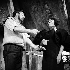 """""""L'Enlèvement"""" de Francis Veber. Mise en scène de Pierre Mondy. Jacques Fabbri et Yvonne Clech. Paris, Théâtre Edouard VII, septembre 1968.  © Studio Lipnitzki/Roger-Viollet"""