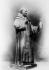 Statue de Dom Pierre Pérignon (1639-1715), moine bénédictin, inventeur du procédé permettant d'obtenir une mousse régulière dans la fabrication du champagne. Statue. © Albert Harlingue / Roger-Viollet